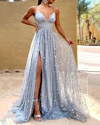 Gorgeous Spaghetti Straps Grey Blue Sequins Prom Dresses Split_5