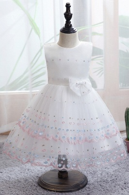 Sweet White Sleeveless Sequins Flower Girls Dresses With Bowknot_1