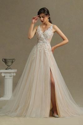 Glamorous V Neck Tulle Lace appliques Wedding Dresses Floor-length_2