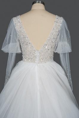 Glamorous V Neck Tulle Lace Beading Wedding Dresses With Long Sleeves_2