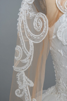 Long Sleeves Lace Ruffles Fairy Wedding Dresses Floor-length_11