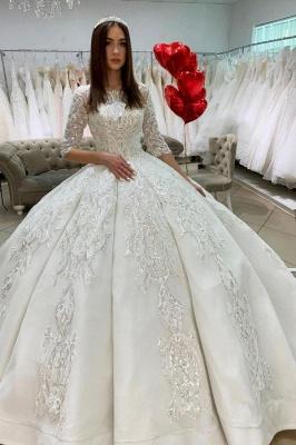Princess Half Sleeves Jewel Satin Wedding Dresses Ball Gown_1