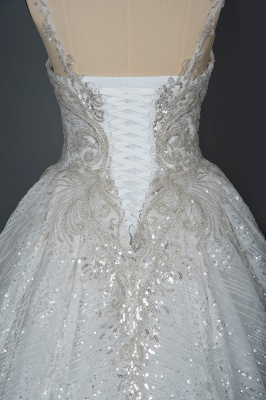 Elegant Sleeveless Tulle Lace Wedding Dresses With Sequins Long_4
