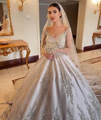 Elegant Long Sleeves Champagne Lace Wedding Dresses Long_5