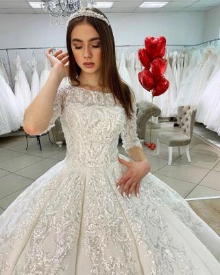 Princess Half Sleeves Jewel Satin Wedding Dresses Ball Gown_4