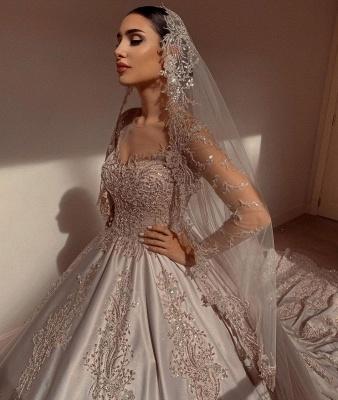 Elegant Long Sleeves Champagne Lace Wedding Dresses Long_6