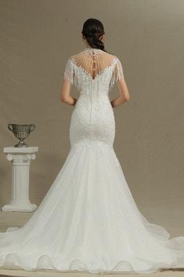 Shining Sleeveless Bronzing Mermaid Wedding Dresses With Tassel_4