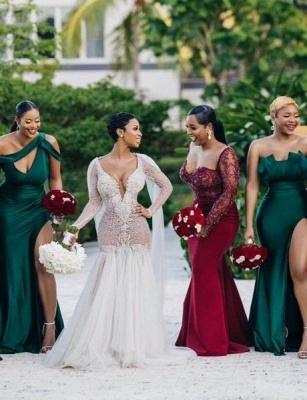 Off-the-shoulder Strapless Emerald Green Elastic Satin Long Bridesmaid Dress_4