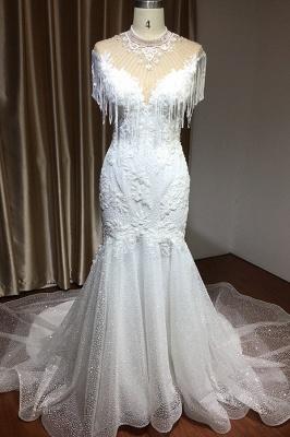 Shining Sleeveless Bronzing Mermaid Wedding Dresses With Tassel_2