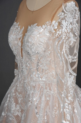 Gorgeous Long Sleeves Tulle Beading Wedding Dresses With Lace Appliques_8