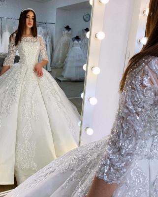 Princess Half Sleeves Jewel Satin Wedding Dresses Ball Gown_3