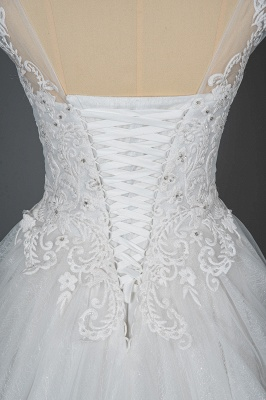 Graceful Tulle Lace Beading A-Line Wedding Dresses With Appliques_6