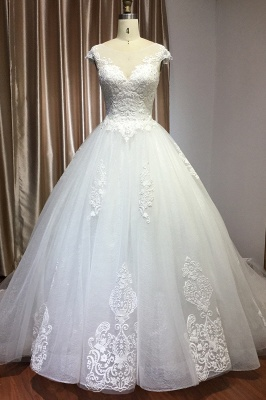 Graceful Tulle Lace Beading A-Line Wedding Dresses With Appliques_1
