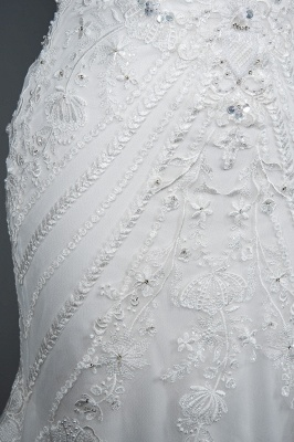 Elegant Jewel Sleeveless Tulle Lace Mermaid Wedding Dresses Long_7