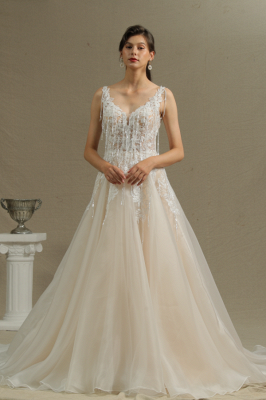 Glamorous Chapel Train Sleeveless Organza Wedding Dresses With Appliques_1