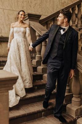Gorgeous Tulle Bateau Wedding Dresses With Lace Appliques_4