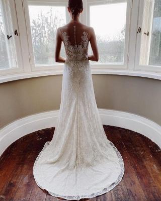 Elegant White Sleeveless Wedding Dresses With Lace Appliques_2