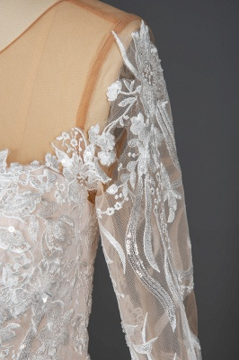Gorgeous Long Sleeves Tulle Beading Wedding Dresses With Lace Appliques_5