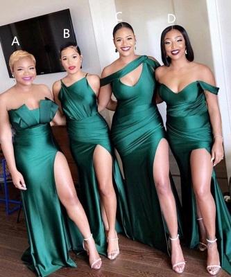Off-the-shoulder Strapless Emerald Green Elastic Satin Long Bridesmaid Dress_1