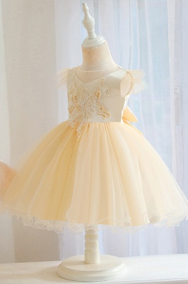 Princess Short Sleeves Beading Flower Girls Dresses With Bowknot_4