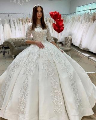 Princess Half Sleeves Jewel Satin Wedding Dresses Ball Gown_2