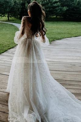 A-Line Lace Long Sleeves White Wedding Dresses Chapel Train_4