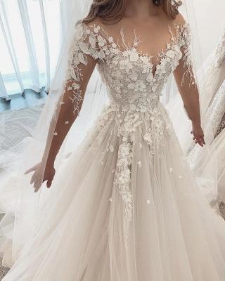 Beautiful White Lace Wedding Dresses Long Sleeves_2