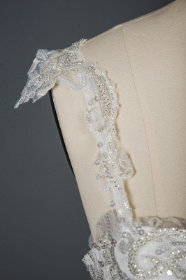 Elegant Sleeveless Tulle Lace Wedding Dresses With Sequins Long_5