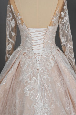 Gorgeous Long Sleeves Tulle Beading Wedding Dresses With Lace Appliques_9
