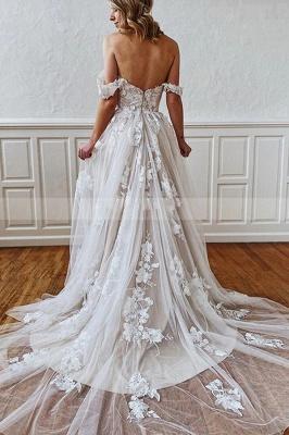 A Line Sweetheart Straps 3D Floral Lace Wedding Dress_2