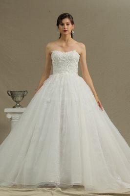 Elegant Strapless White Lace Wedding Dresses Floor-length_2