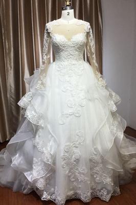 Long Sleeves Lace Ruffles Fairy Wedding Dresses Floor-length_1