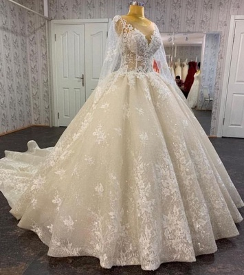 Pirncess Long Sleeves Lace Bridal Gown A-line Wedding Dress_2