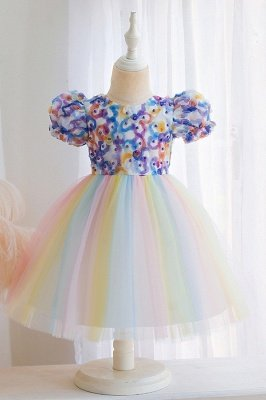 Cute Short Sleeves Tulle Colorful Flower Girls Dresses With Appliques