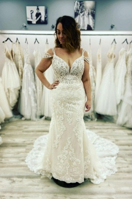 Sexy Sleeveless Sweetheart Lace Wedding Dresses Mermaid_1