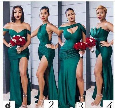 Off-the-shoulder Strapless Emerald Green Elastic Satin Long Bridesmaid Dress_2