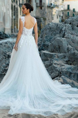 V-Neck Tulle Sleeveless Floral Lace Wedding Dresses_5