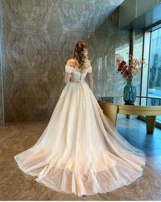 Off The Shoulder Sweetheart Tulle Champagne Wedding Dresses With Lace_2