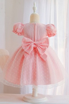 Princess Short Sleeves Jewel Flower Girls Dresses With Bowknot_6