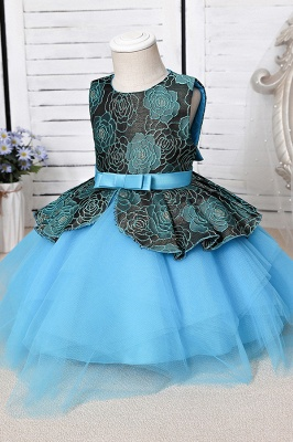 Cute Jewel Polyester Sleeveless Flower Girls Dresses With Bowknot_7