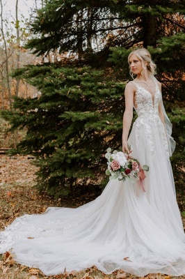 Graceful Sleeveless Tulle V Neck A-Line Wedding Dresses With Lace Appliques