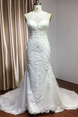 Elegant Jewel Sleeveless Tulle Lace Mermaid Wedding Dresses Long