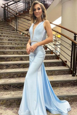 Elegant V Neck Light Blue Beading Mermaid Prom Dresses Sleeveless