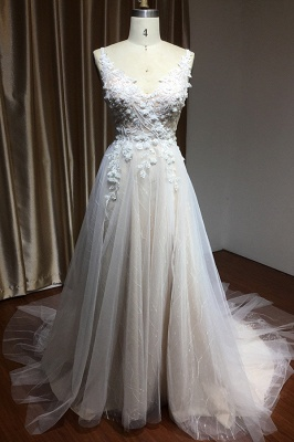 Glamorous V Neck Tulle Lace appliques Wedding Dresses Floor-length