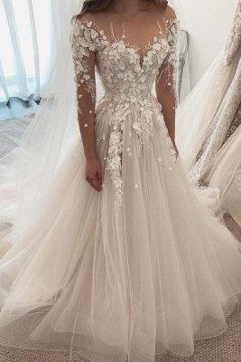 Beautiful White Lace Wedding Dresses Long Sleeves_1