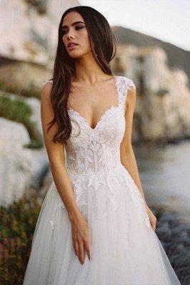 V-Neck Tulle Sleeveless Floral Lace Wedding Dresses_2