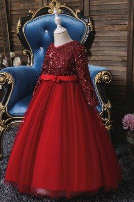 Princess Long Sleeves Ruby Sequins Flower Girls Dresses Ankle-Length_1