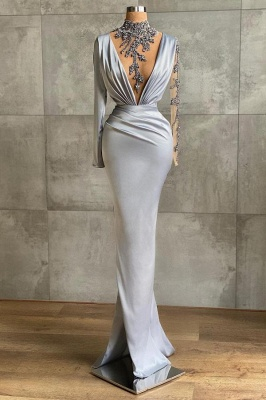 Luxury High Neck Silver Ruffles Mermaid Prom Dresses With Long Sleeves