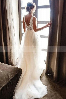 A Line White V-Neck Lace Tulle Bridal Dress Beach Wedding Dress_2