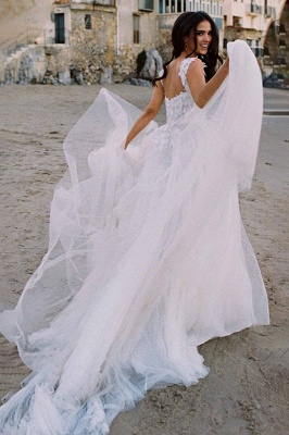 V-Neck Tulle Sleeveless Floral Lace Wedding Dresses_3